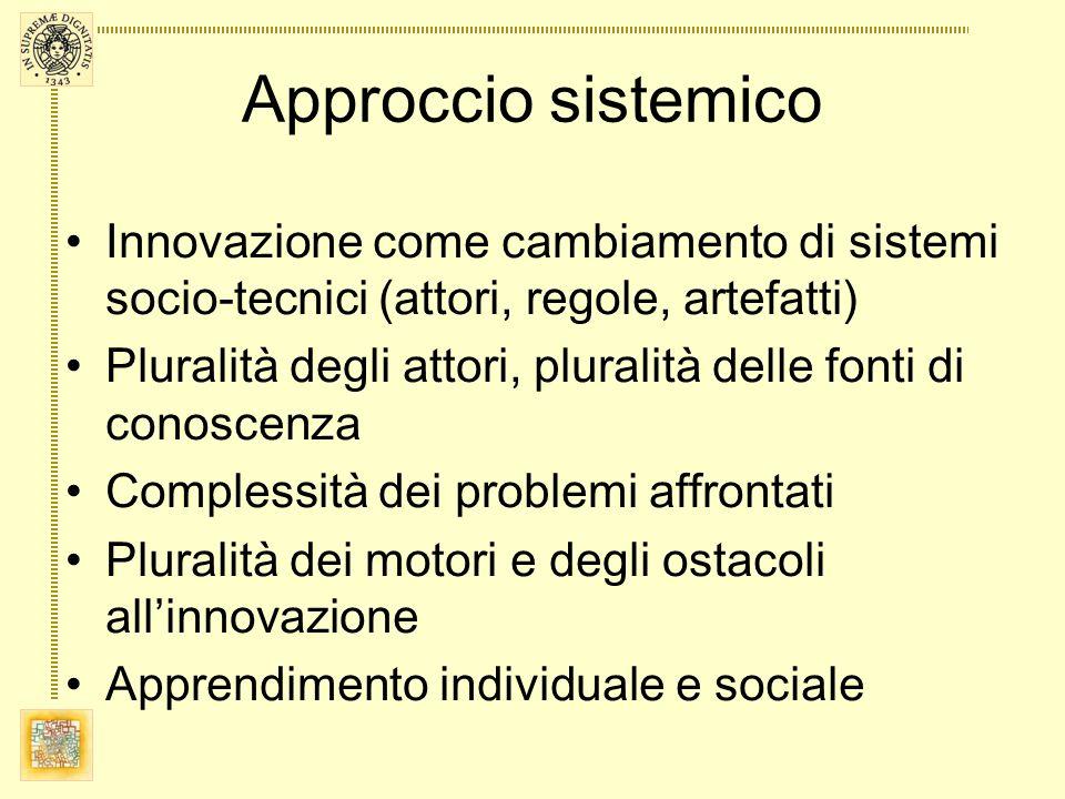 Approccio sistemico Innovazione come cambiamento di sistemi socio-tecnici (attori, regole, artefatti)