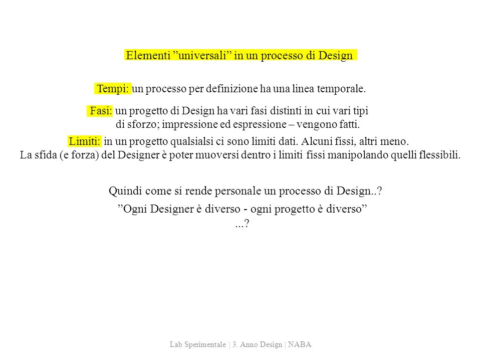 Elementi universali in un processo di Design