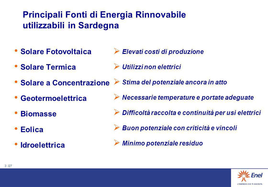 Principali Fonti di Energia Rinnovabile utilizzabili in Sardegna