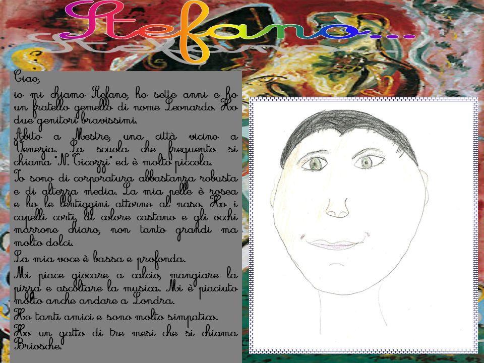 Stefano... Ciao, io mi chiamo Stefano, ho sette anni e ho un fratello gemello di nome Leonardo. Ho due genitori bravissimi.