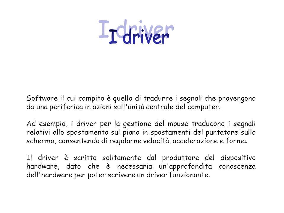 I driverSoftware il cui compito è quello di tradurre i segnali che provengono da una periferica in azioni sull unità centrale del computer.