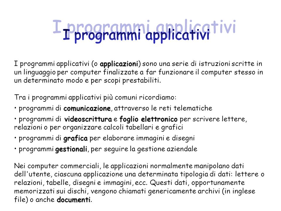 I programmi applicativi