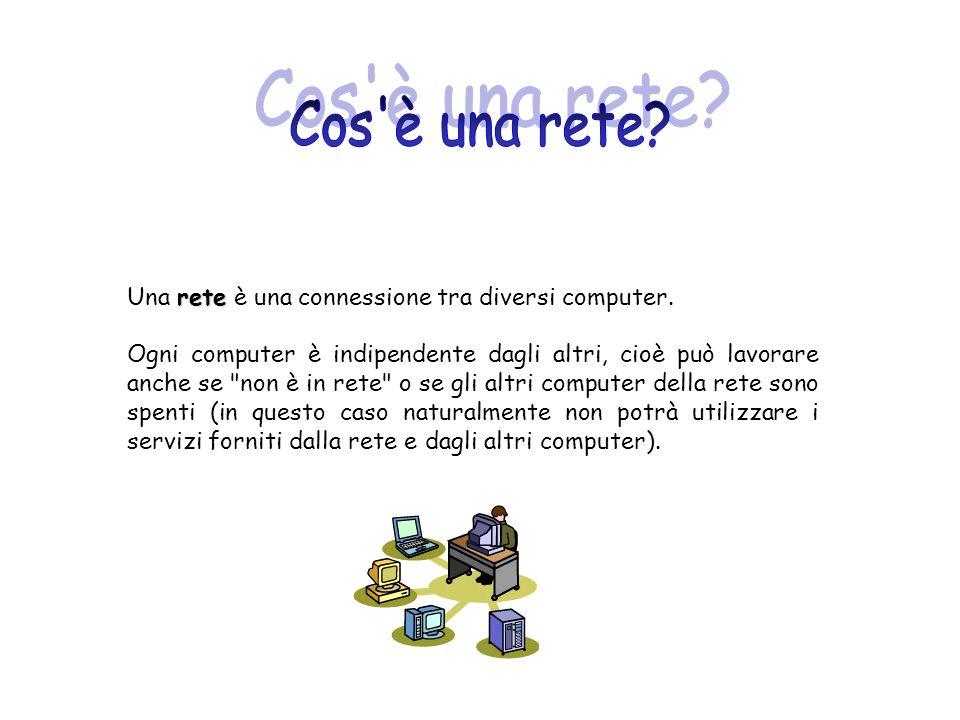 Cos è una rete Una rete è una connessione tra diversi computer.