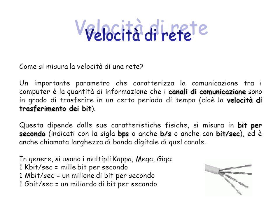 Velocità di rete Come si misura la velocità di una rete
