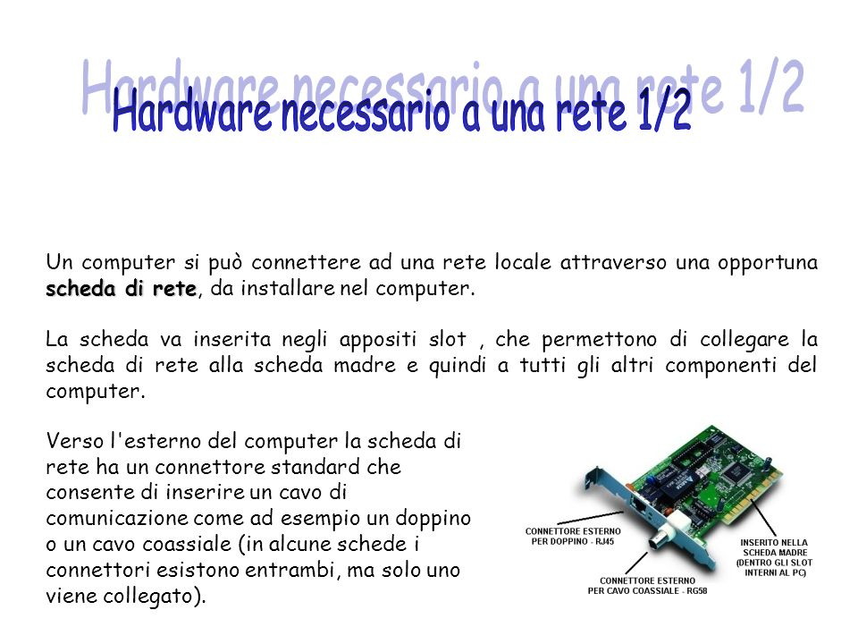 Hardware necessario a una rete 1/2