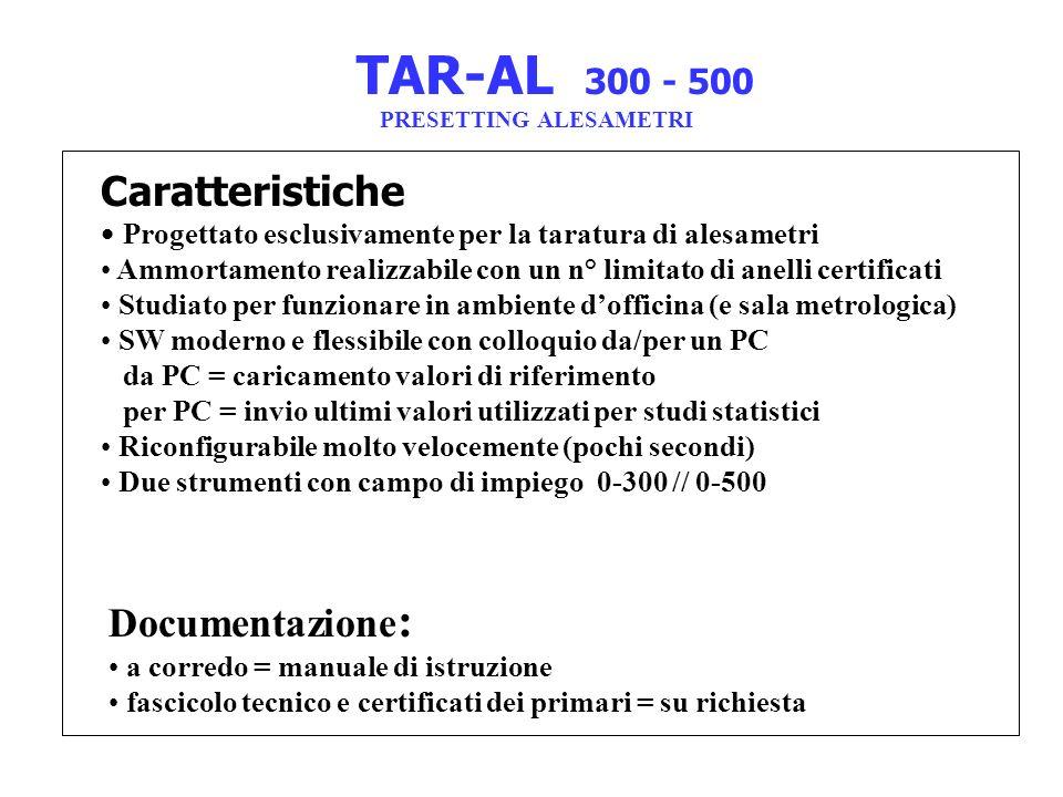 TAR-AL 300 - 500 Caratteristiche Documentazione: