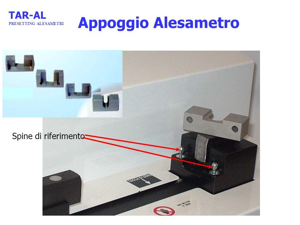 TAR-AL PRESETTING ALESAMETRI Appoggio Alesametro Spine di riferimento