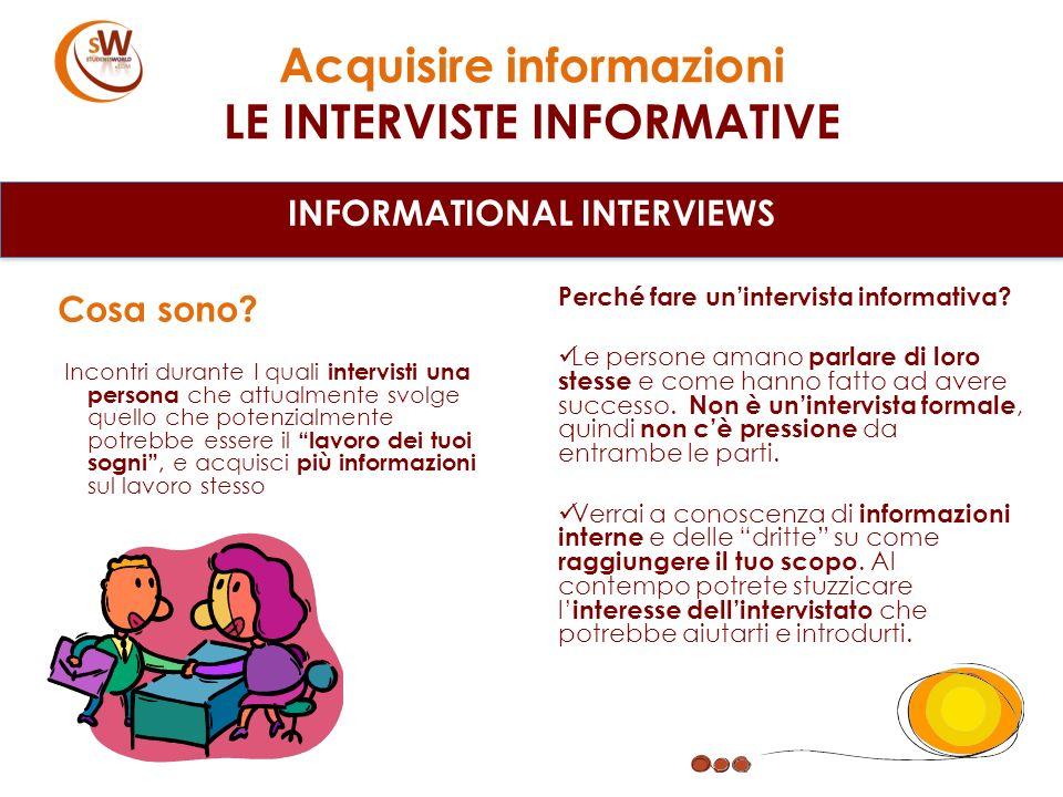 Acquisire informazioni LE INTERVISTE INFORMATIVE