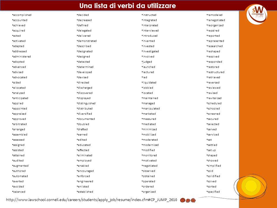 Una lista di verbi da utilizzare