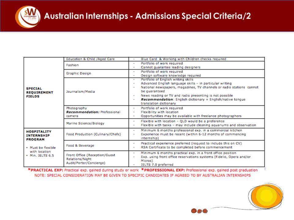 Australian Internships - Admissions Special Criteria/2