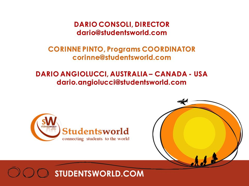 STUDENTSWORLD.COM DARIO CONSOLI, DIRECTOR dario@studentsworld.com