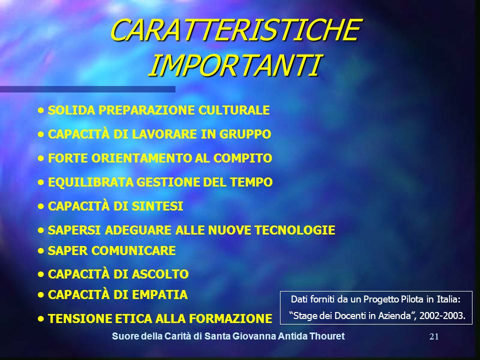 CARATTERISTICHE IMPORTANTI