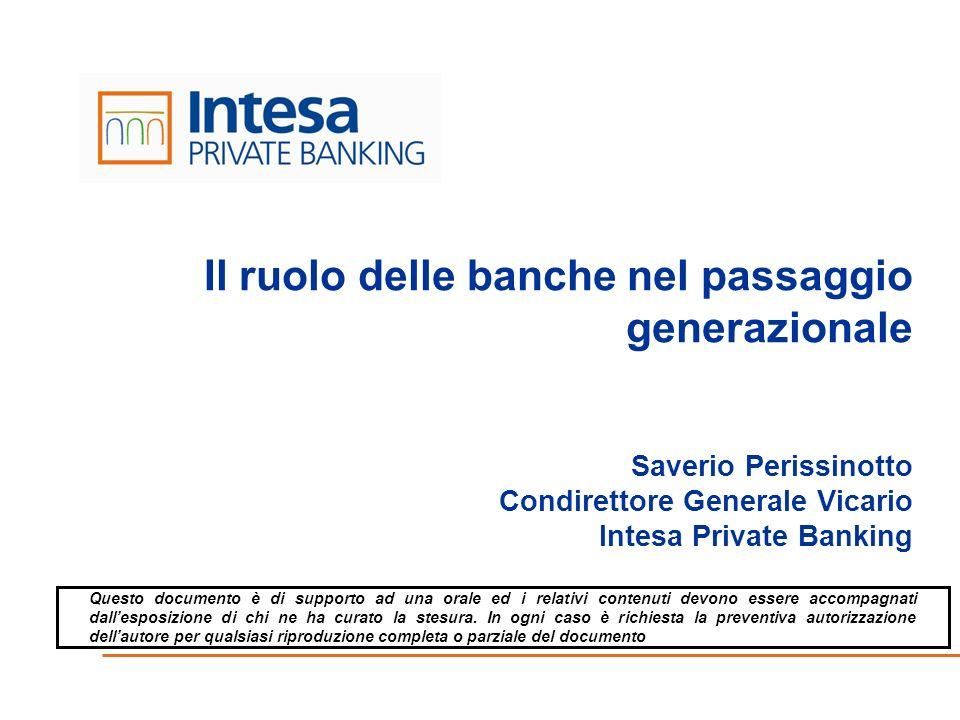 Il ruolo delle banche nel passaggio generazionale Saverio Perissinotto Condirettore Generale Vicario Intesa Private Banking
