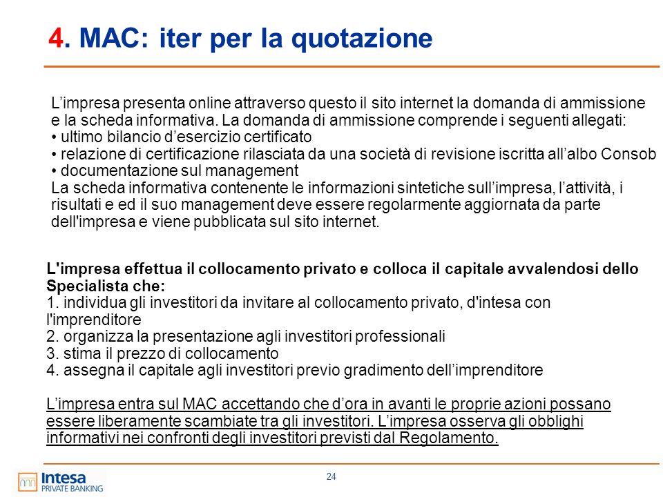 4. MAC: iter per la quotazione