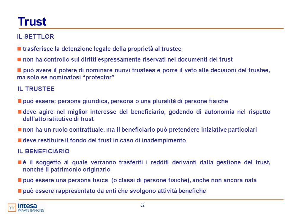 Trust IL SETTLOR IL TRUSTEE IL BENEFICIARIO