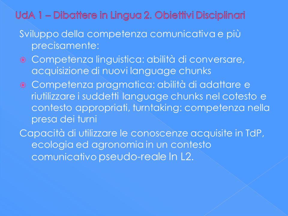 UdA 1 – Dibattere in Lingua 2. Obiettivi Disciplinari
