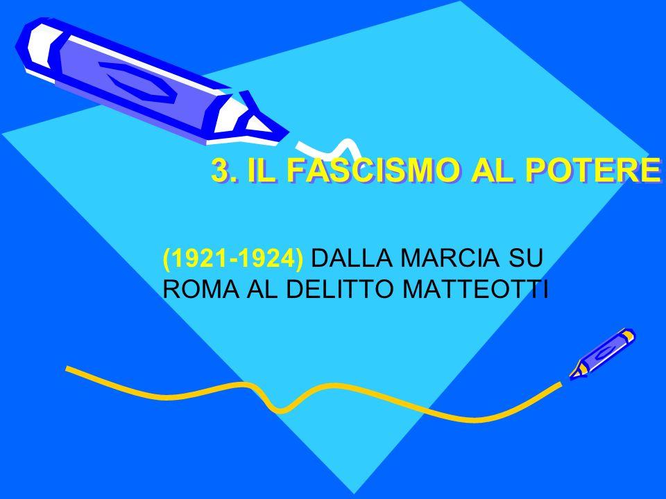 (1921-1924) DALLA MARCIA SU ROMA AL DELITTO MATTEOTTI