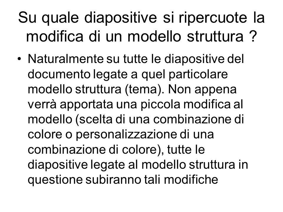 Su quale diapositive si ripercuote la modifica di un modello struttura