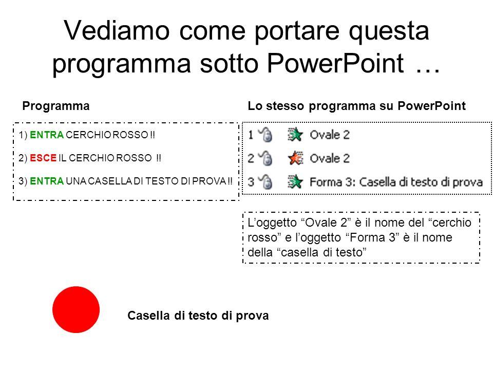 Vediamo come portare questa programma sotto PowerPoint …