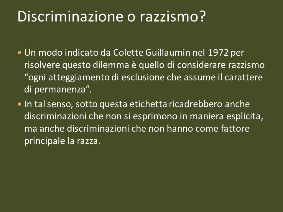 Discriminazione o razzismo