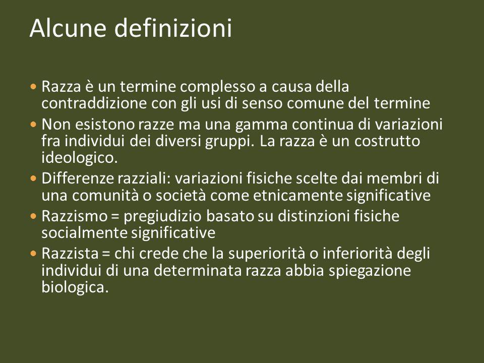 Alcune definizioni Razza è un termine complesso a causa della contraddizione con gli usi di senso comune del termine.