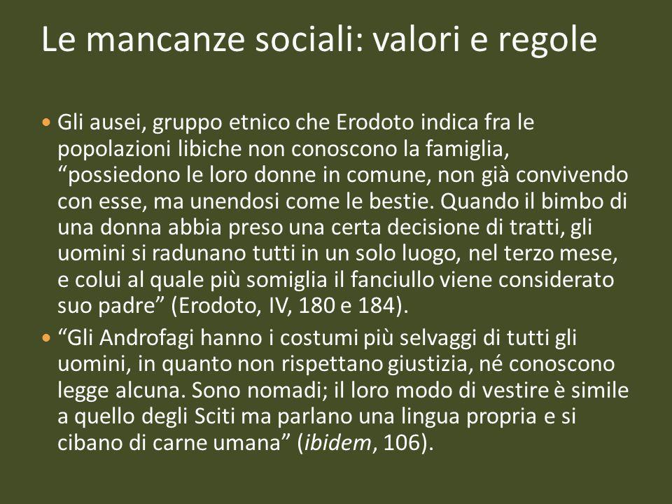 Le mancanze sociali: valori e regole