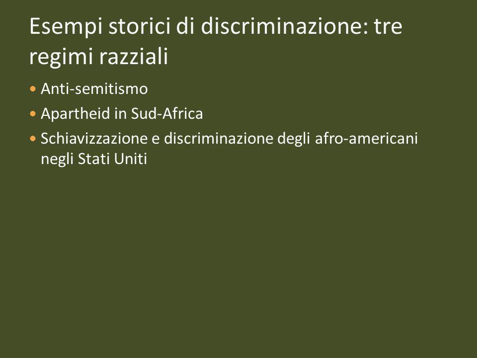 Esempi storici di discriminazione: tre regimi razziali