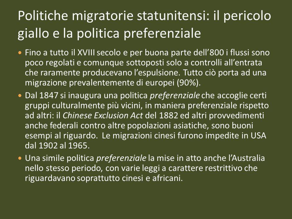 Politiche migratorie statunitensi: il pericolo giallo e la politica preferenziale