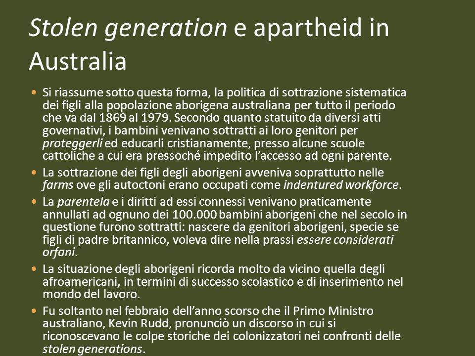 Stolen generation e apartheid in Australia