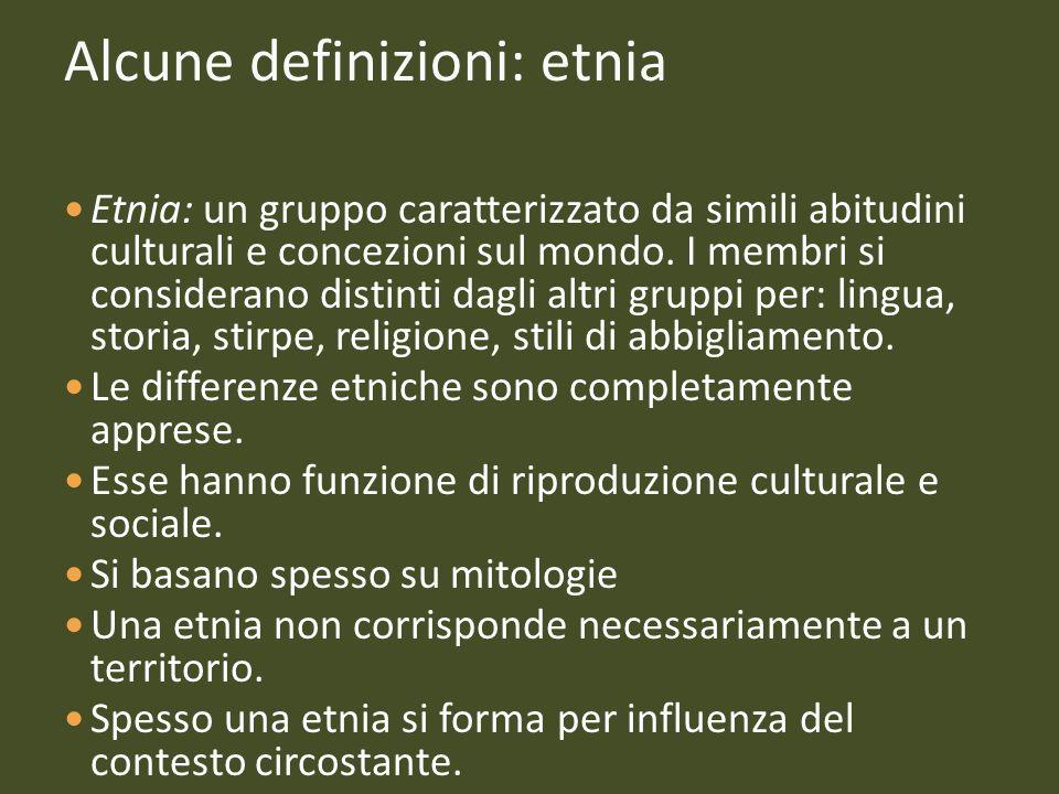 Alcune definizioni: etnia