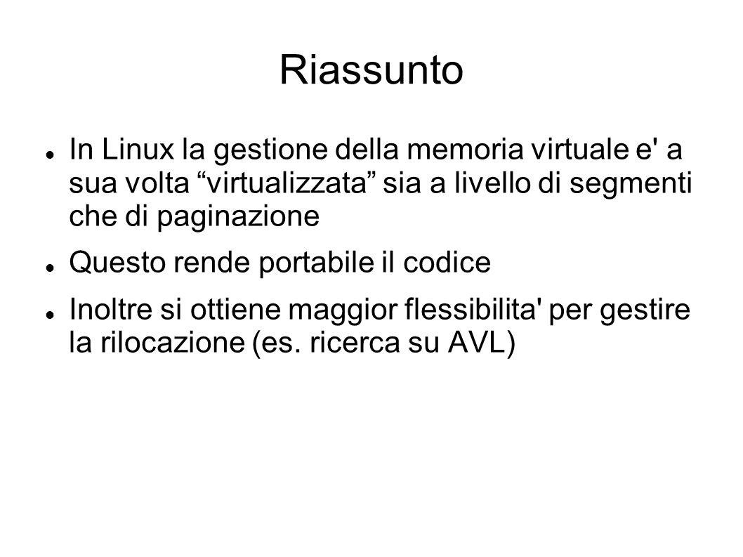 Riassunto In Linux la gestione della memoria virtuale e a sua volta virtualizzata sia a livello di segmenti che di paginazione.
