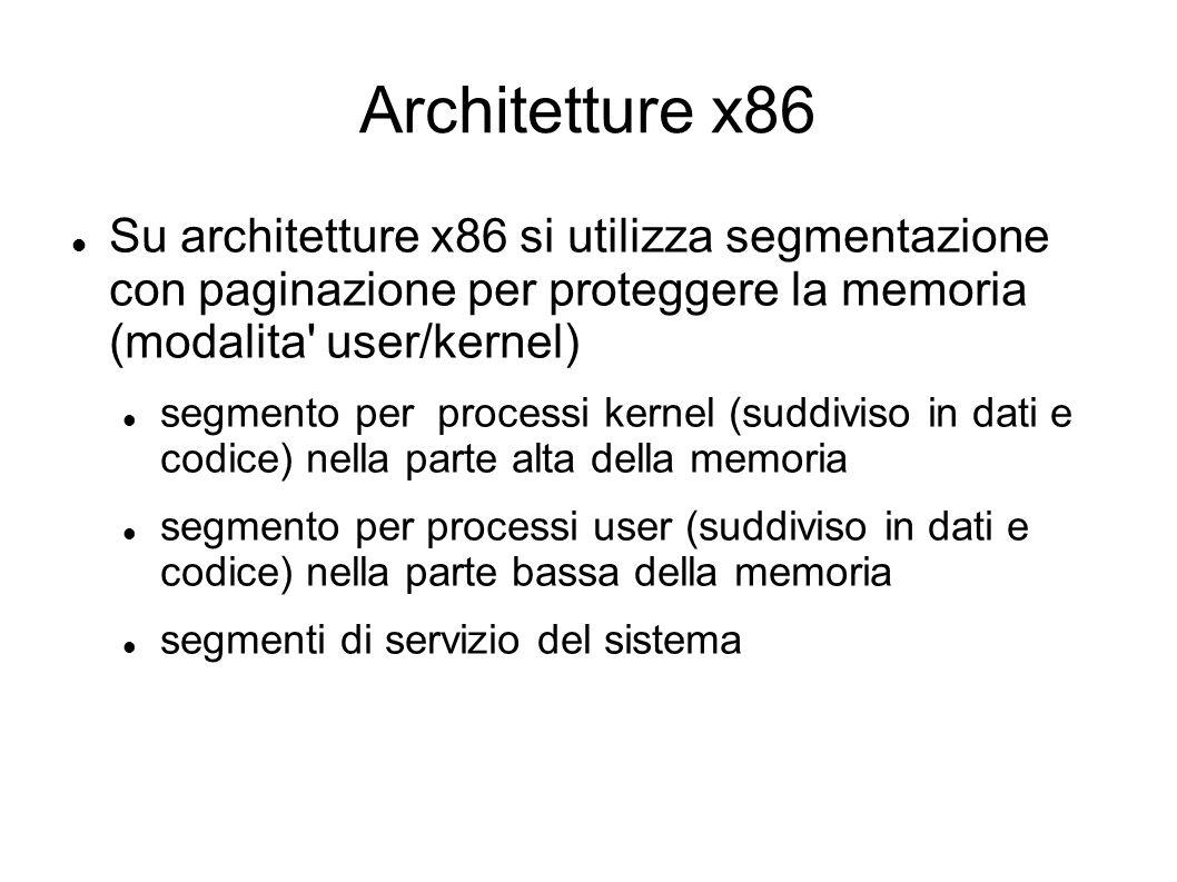 Architetture x86 Su architetture x86 si utilizza segmentazione con paginazione per proteggere la memoria (modalita user/kernel)