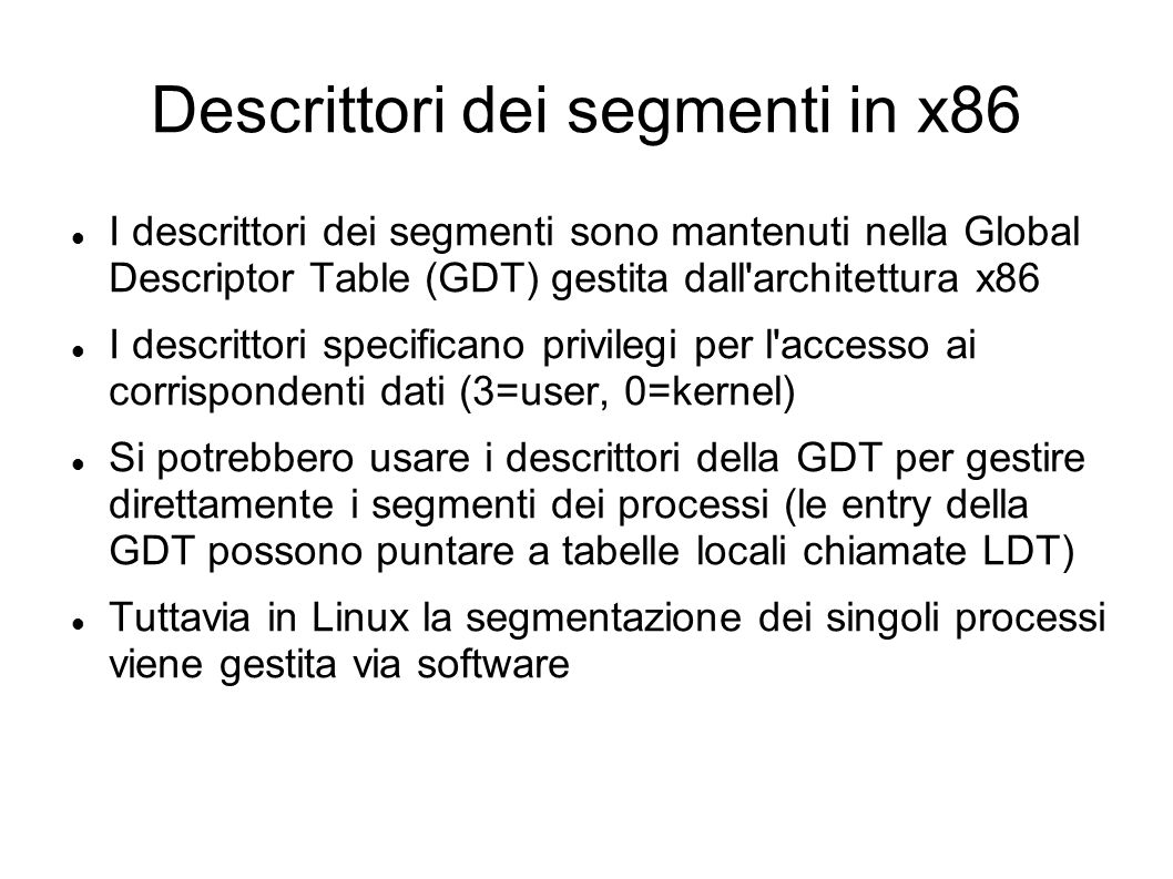 Descrittori dei segmenti in x86