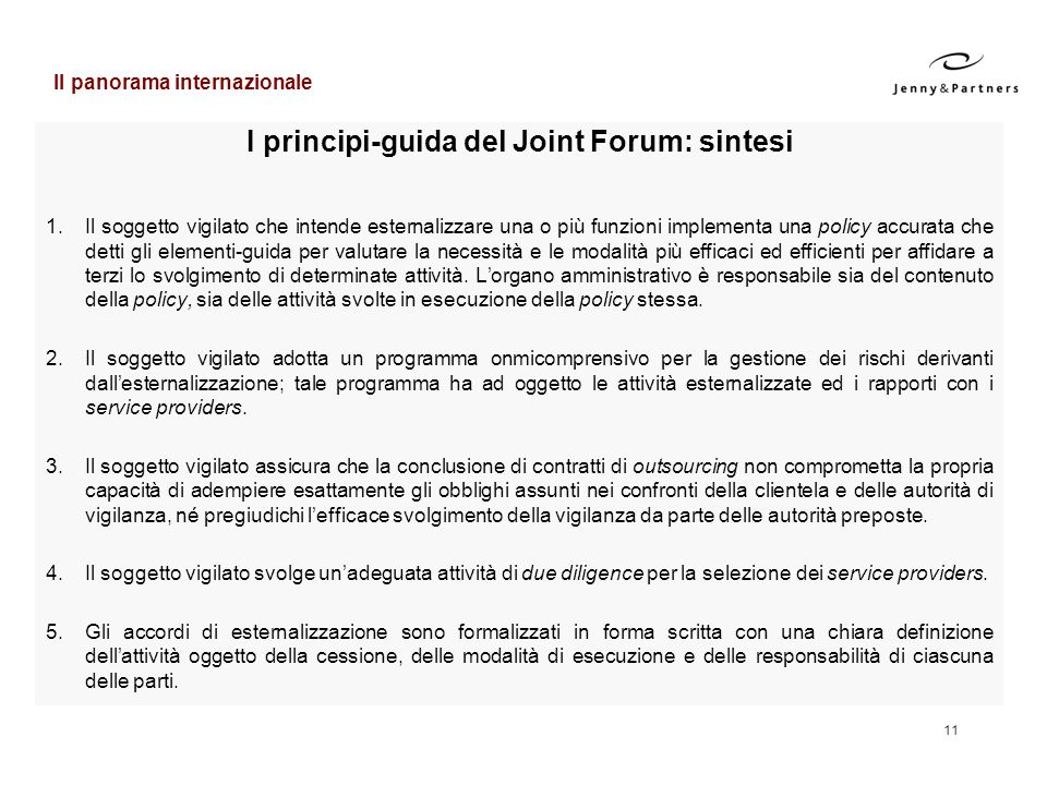 I principi-guida del Joint Forum: sintesi