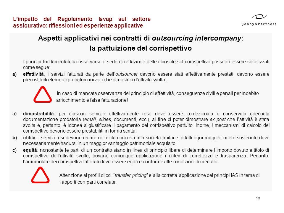 Aspetti applicativi nei contratti di outsourcing intercompany: