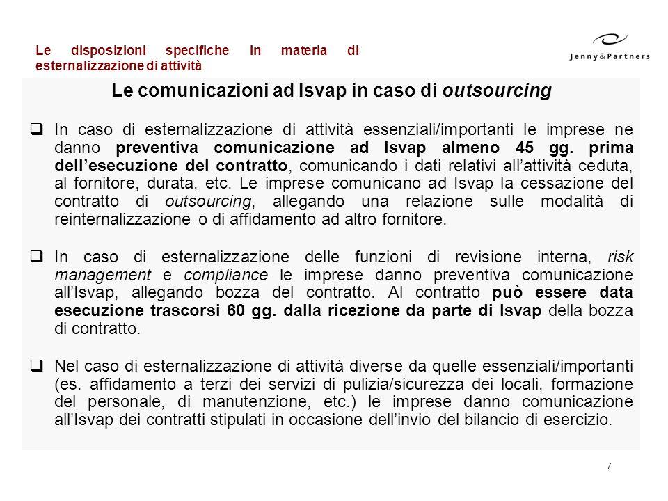 Le comunicazioni ad Isvap in caso di outsourcing