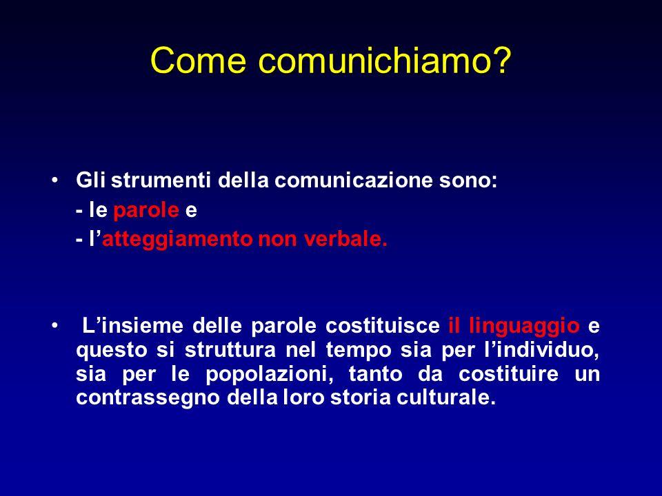 Come comunichiamo Gli strumenti della comunicazione sono: