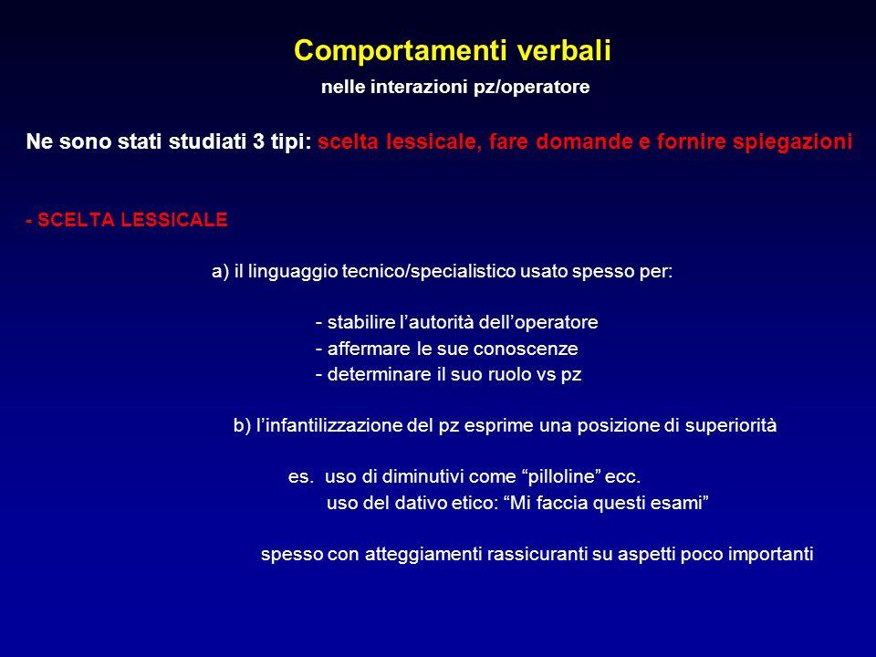 Comportamenti verbali nelle interazioni pz/operatore