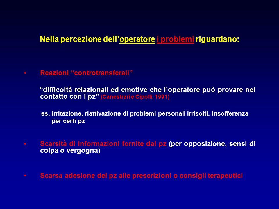 Nella percezione dell'operatore i problemi riguardano: