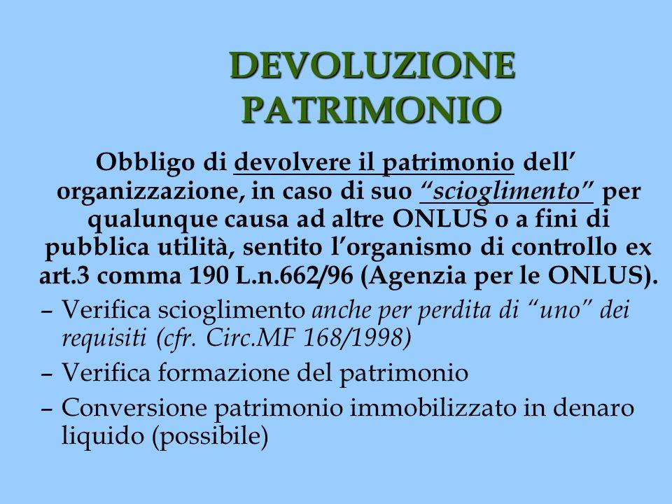 DEVOLUZIONE PATRIMONIO