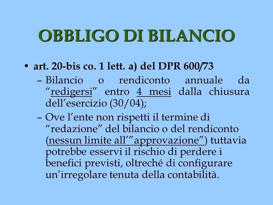 OBBLIGO DI BILANCIO art. 20-bis co. 1 lett. a) del DPR 600/73