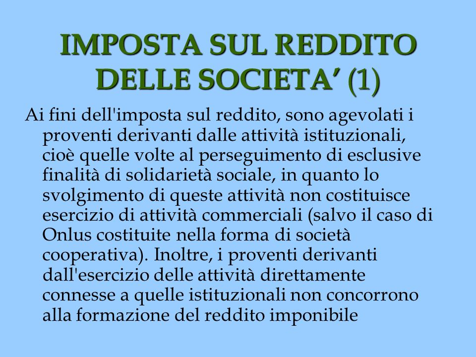 IMPOSTA SUL REDDITO DELLE SOCIETA' (1)