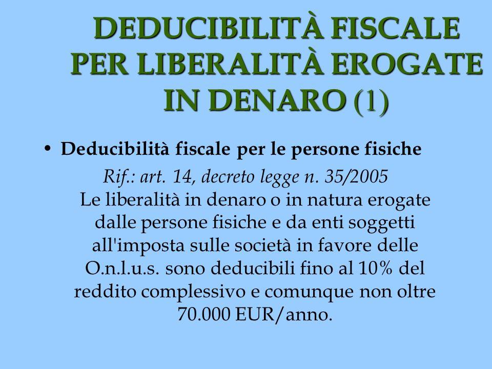 DEDUCIBILITÀ FISCALE PER LIBERALITÀ EROGATE IN DENARO (1)