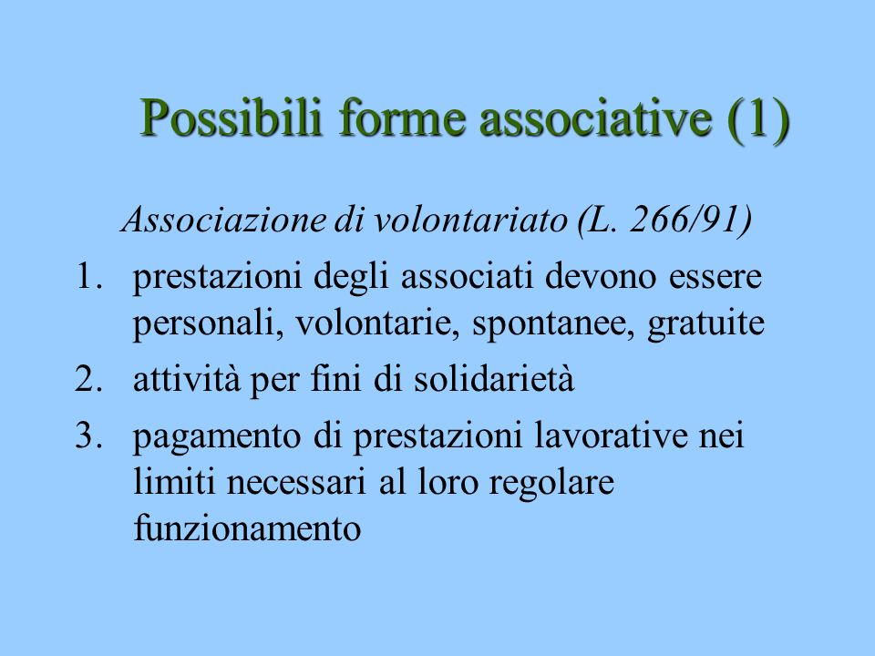 Possibili forme associative (1)