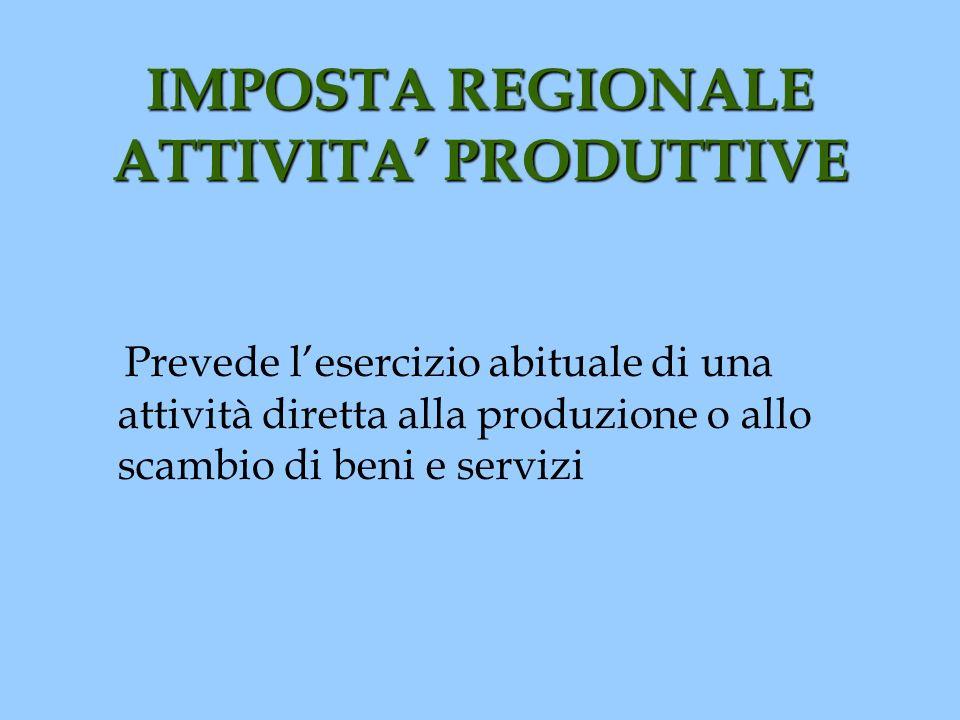 IMPOSTA REGIONALE ATTIVITA' PRODUTTIVE