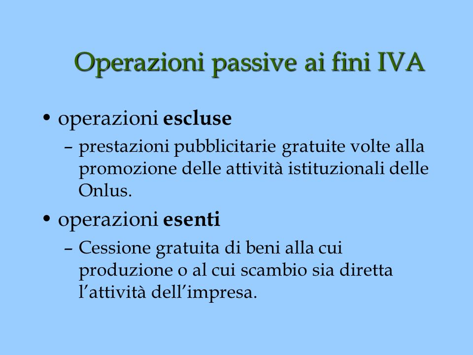 Operazioni passive ai fini IVA