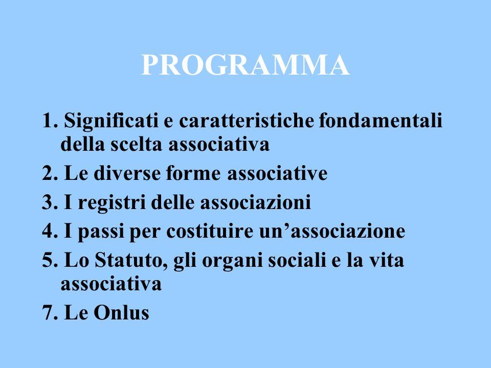 PROGRAMMA 1. Significati e caratteristiche fondamentali della scelta associativa. 2. Le diverse forme associative.