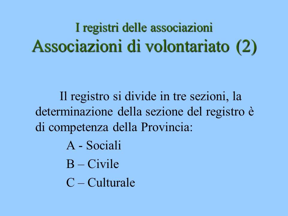 I registri delle associazioni Associazioni di volontariato (2)