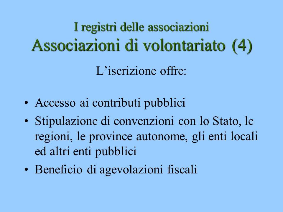 I registri delle associazioni Associazioni di volontariato (4)