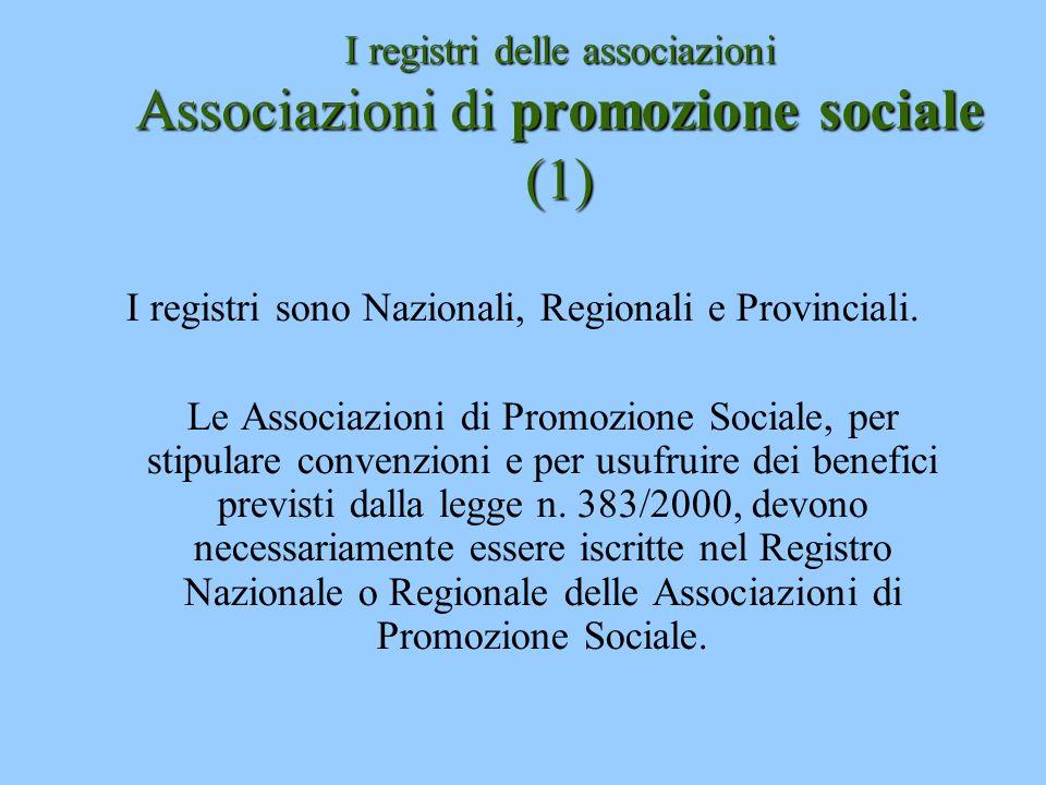 I registri delle associazioni Associazioni di promozione sociale (1)